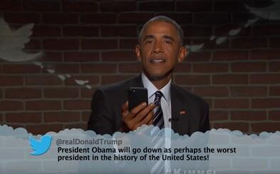 Barack Obama si u Jimmyho Kimmela vystrelil z Donalda Trumpa. Po druhýkrát čítal nepríjemné tweety