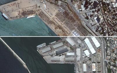 Bejrút před a po explozi: Vedle stometrového kráteru zůstala stát jen česká stavba