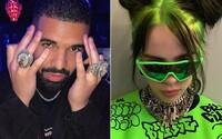 Billie Eilish si píše s Drakeom. Podľa fanúšikov je raper strašidelný, znepokojuje ich jeho minulosť s mladými ženami