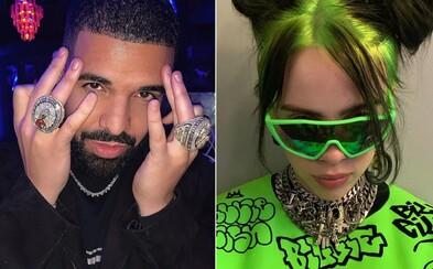 Billie Eilish si píše s Drakem, její fanoušky znepokojuje raperova minulost s mladými ženami