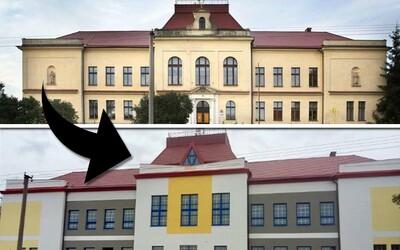 Bizarná rekonštrukcia v Česku premenila historickú budovu základnej školy na zateplené farebné čudo a je vrcholom aj definíciou nevkusu