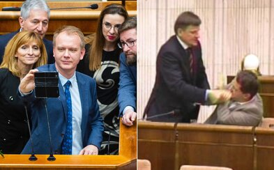Blokovanie rečníckeho pultu už slovenský parlament zažil. Alojz Hlina sa najprv pobil, potom mlčiac protestoval