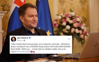 Boris Kollár bude ministrom práce, sociálnych vecí a rodiny, vtipkuje Matovič na 1. apríla