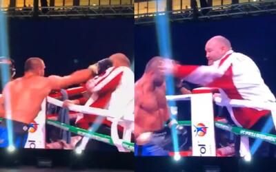 Boxer po zápase v Bulharsku vybuchl a zaútočil na vlastního trenéra. Ten mu dal facku a předvedl slušnou obranu