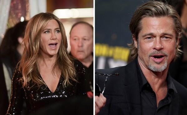 Brad Pitt s obdivem sledoval svou exmanželku Jennifer Aniston při děkovném projevu