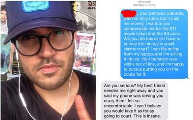 Brandon si po prvom neúspešnom rande od nápadničky vypýtal naspäť peniaze za lístky a pizzu. Neodpisovala, a tak na ňu podal žalobu na súd