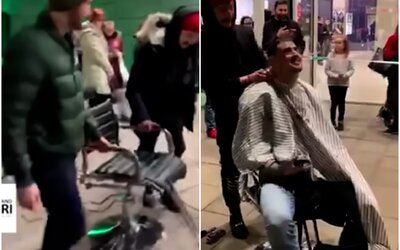 Bratislavské obchodní centrum museli evakuovat, barbeři si poradili. Zákazníky stříhali venku