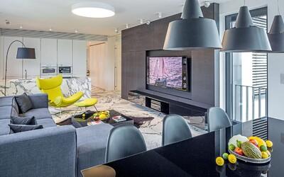 Bratislavský Riverpark odhaľuje ďalší luxusný byt plný mramoru a kontrastov