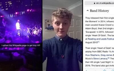 Brit se dostal do VIP sekce během koncertu jen díky jednoduché úpravě stránky na Wikipedii