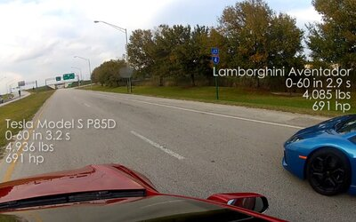 Brutálny závod novej Tesly S P85D a nadupaného Lamborghini Aventador. Kto sa tešil z výhry?