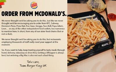 Burger King vyzýva svojich zákazníkov, aby si objednali burger z McDonald's