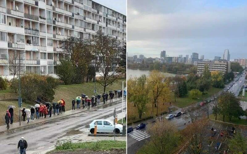 FOTO: Před odběrnými místy po celém Slovensku vznikají dlouhé fronty i kilometrové kolony aut. Někde ani v 8:00 neměli otevřené.