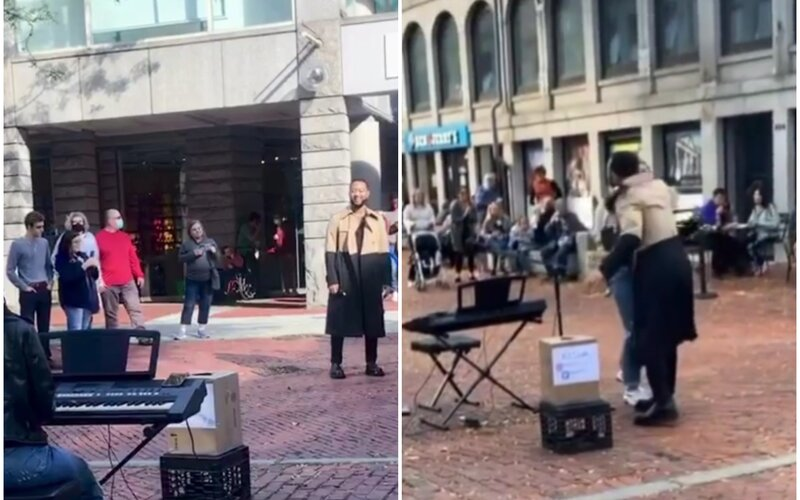 VIDEO: Pouličná umelkyňa spievala pieseň All of Me od Johna Legenda. Slávny spevák sa zrazu zjavil pred ňou a objal ju.