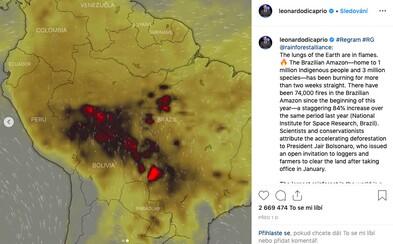 Česká aplikace se dostala až na Instagram Leonarda DiCapria. Upozorňuje na hořící pralesy
