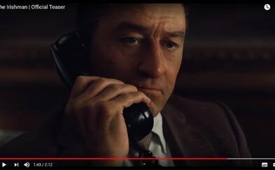CGI omlazení Robert De Niro a Al Pacino zabíjejí grázly jako klasičtí mafiáni v prvním traileru pro Irishmana