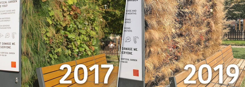 Chytrá ekolavička za 280 tisíc, která měla v Praze snižovat teplotu, uschla. Firma ji přestala zalévat