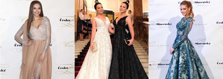 Čierno-biele Twiinsky či trblietavá Monika Bagárová. Aké róby previedli známe tváre na Česko-Slovenskom plese?