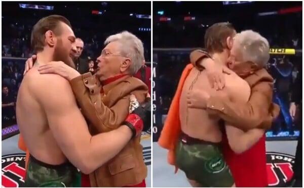 Conor McGregor dojal diváky. Po zápase se objal s babičkou Cowboye, vychovala prý skvělého člověka