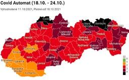 Covid automat: Slovensko má už 5 čiernych okresov. Očkovaní sa tam nedostanú do reštaurácie ani do fitnescentra