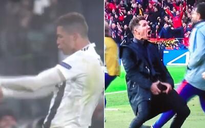Cristiano Ronaldo sa vysmial Atléticu. Sparodoval gesto Simeoneho, ktorým zosmiešnil Juventus po prvom zápase