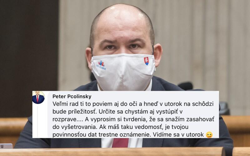 Pčolinský hrozí Mikulcovi v komentároch pod statusom: Vidíme sa v utorok, žmurk.