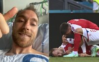 Dánsky futbalista, ktorého museli oživovať, posiela odkaz z nemocnice. Cíti sa dobre a povzbudzuje spoluhráčov z tímu
