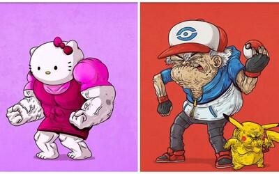 Darth Vader, Pikachu či Hello Kitty. Ako by vyzerali ich zostarnuté či svalnaté verzie?