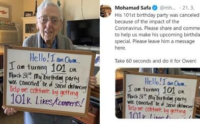 Dědeček kvůli koronaviru zrušil 101. oslavu narozenin. Proto žádá lidi o 101 000 lajků jako kompenzaci