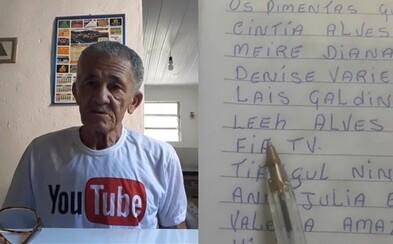Dědeček youtuber individuálně poděkoval více než 1 500 odběratelům za to, že sledují jeho videa. Dnes jich má skoro 4 miliony