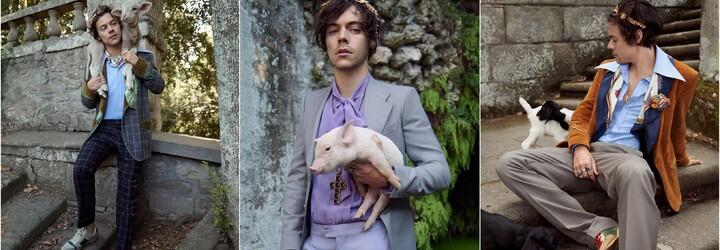 Harry Styles v nové kampani pro Gucci pózuje s prasetem, ovcí i kozou