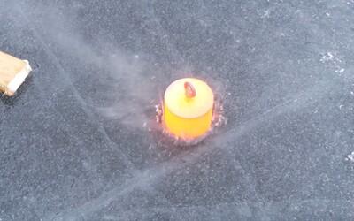 Dokázalo 20 kilogramů pekelně horké oceli proniknout tlustým ledem na zamrzlém jezeře? Perfekcionisté záběry určitě ocení