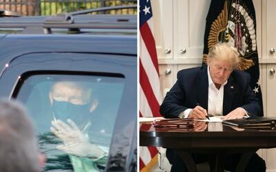Donald Trump porušil karanténne pravidlá. Opustil nemocnicu, len aby z auta zakýval svojim priaznivcom