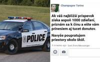 Drzý podvodník si robil srandu z americkej polície na ich Facebooku. Ak získajú tisíc zdieľaní, prizná sa sám a navyše im kúpi donuty