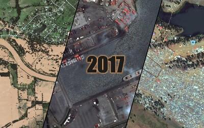 Důležité momenty roku 2017 na satelitních záběrech. Od genocidy v Myanmaru až po vyhladovělou Afriku