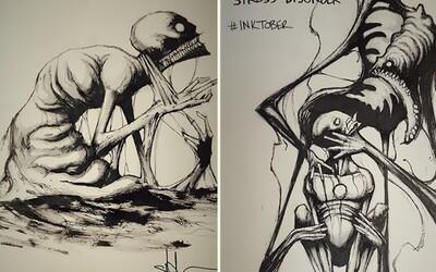 Duševní poruchy zobrazené na hrozivě autentických ilustracích od šikovného umělce