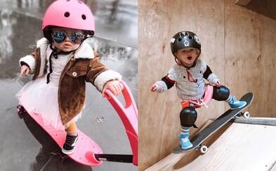 Dvouletá holčička zvládá snowboard i skate. Sleduj malou Coco na rampě!