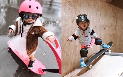Dva a pol ročné dievčatko zvláda snowboard aj skate. Sleduj malú Coco na rampe!