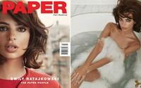 Emily Ratajkowski se objevila na titulce magazínu Paper. Kráska si na zdařilých snímcích vychutnává koupel ve vaně