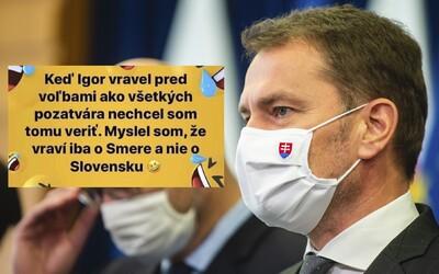 Keď Matovič sľuboval, že všetkých pozatvára, nehovoril len o Smere, ale o celom Slovensku. Premiér si uťahuje sám zo seba