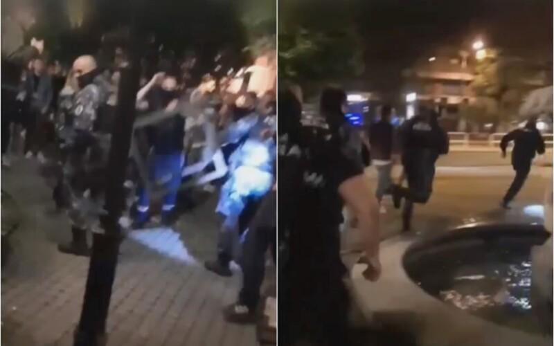 VIDEO: Mladík hodil do mestských policajtov v centre Bratislavy veľký kovový stôl. Prišli nás len upozorniť, tvrdí svedok.