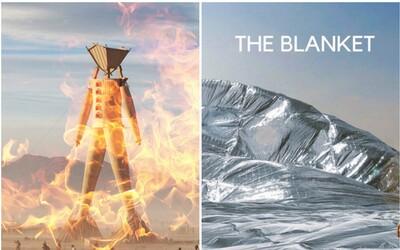 Festival Burning Man vyřešil problém s pouštní teplem největší dekou z polyetylenu na světě