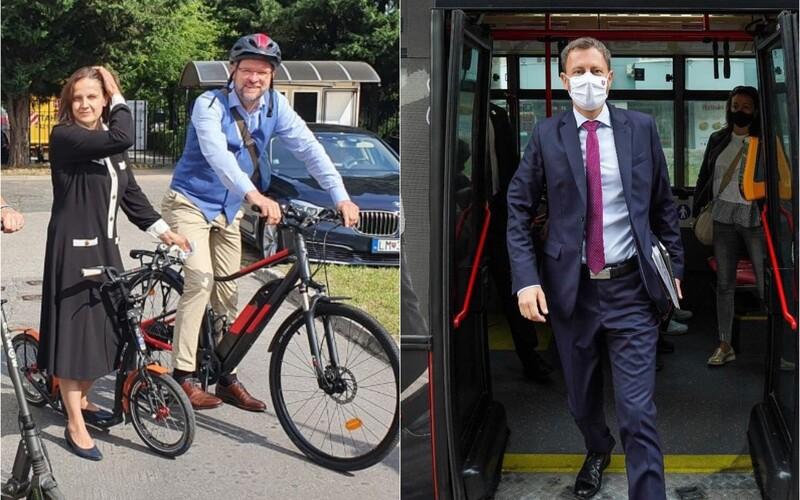 FOTO: Sulík na bicykli, Kolíková na kolobežke a Heger v MHD. Prečo dnes politici nechali autá doma?