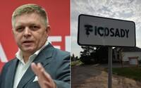 Ficosady: Posprejovali značku obce, v ktorej stojí luxusný kaštieľ, kde chodí prespávať Robert Fico