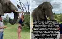Fitnesska dělala shyby na klech slona. Její followeři ji zkritizovali, nelíbilo se jim, jak se k zvířeti chová