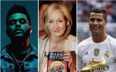Forbes zveřejnil žebříček nejvíce vydělávajících světových celebrit i s přesnými sumami. V top 10 je J. K. Rowlingová, The Weeknd i Ronaldo