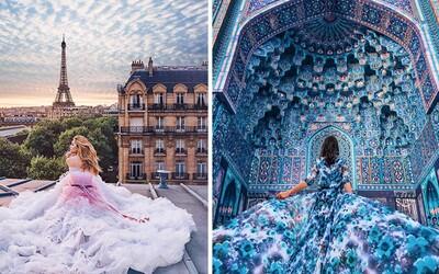 Fotografka zachytáva najkrajšie ženy v šatách na najkrajších miestach našej planéty
