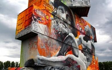 Gigantický street art gréckych bohov na kontajneroch