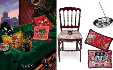 Gucci přichází na trh se sérií nábytku a dekorací. Za polštář, svíčku či tác na jídlo zaplatíš tisíce eur