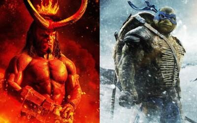 Hellboy sa pripomína dvojicou plagátov a Ninja korytnačky čaká ďalší reboot