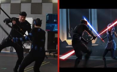 Herec Darth Maula zo Star Wars natočil súboj s Ahsokou v Star Wars: Clone Wars. Sleduj úžasný tanec so svetelnými mečmi